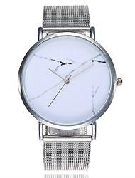 Недорогие -Жен. Мрамор Модные часы Наручные часы Кварцевый Серебристый металл Крупный циферблат Мрамор Аналоговый На каждый день минималист - Белый Черный Один год Срок службы батареи / SSUO CR2025