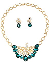 cheap -Women's Gold Plated Jewelry Set 1 Necklace / Earrings - Basic / Fashion Green Jewelry Set / Bridal Jewelry Sets For Wedding / Office &
