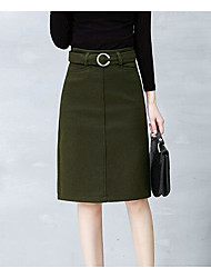 cheap -Women's Casual/Daily Knee Length Skirts, Simple A Line Cotton Solid Winter Autumn/Fall