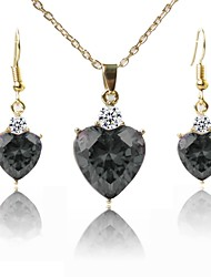 cheap -Women's Gold Plated Lovely Jewelry Set 1 Necklace / Earrings - Fashion Black Jewelry Set / Pendant Necklace For Wedding / Daily