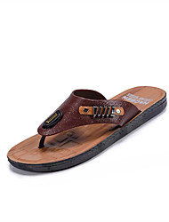 cheap -Men's Shoes PU Spring Summer Comfort Slippers & Flip-Flops Beading for Casual Dark Brown