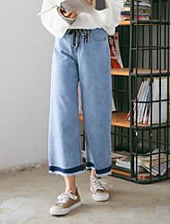 cheap -Women's Mid Rise Micro-elastic Wide Leg Jeans Pants,Simple Wide Leg Jeans Color Block