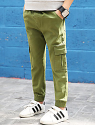 cheap -Boys' Solid Simple Pants, Cotton Spring Fall Active Black Army Green