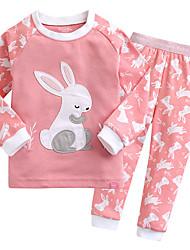 cheap -Unisex Print Sleepwear, Cotton Long Sleeves Simple Red Blushing Pink Light Blue
