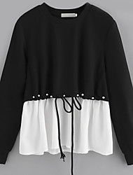 cheap -Women's Daily Work Cute Casual Street chic Spring Fall Blouse,Color Block Round Neck Long Sleeve Cotton Polyester Nylon