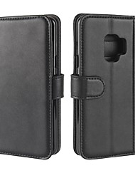 cheap -Case For Samsung Galaxy S9 S8 Card Holder Wallet with Stand Flip Magnetic Solid Color Hard for