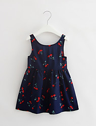 cheap -Girl's Party Daily Going out Holiday School Floral Print Jacquard Dress, Cotton All Seasons Sleeveless Simple Vintage Cute White Navy Blue