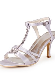 preiswerte -Damen Schuhe Seide Frühling Sommer Pumps Hochzeit Schuhe Stöckelabsatz Peep Toe Strass für Hochzeit Party & Festivität Weiß
