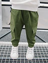 abordables -Pantalones Chico A Cuadros Poliéster Primavera Todas las Temporadas Activo Verde Trébol Negro