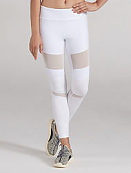cheap -Women's Mesh / Patchwork Running Pants - White, Black Sports Spandex, Mesh Pants / Trousers Yoga, Fitness, Gym Activewear Breathability, Butt Lift
