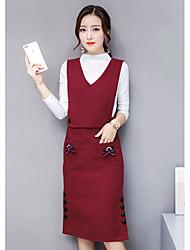 Недорогие -Жен. На выход Хлопок Блуза Платья - Чистый цвет, Однотонный