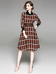 abordables -Mujer Vintage Vaina Vestido - Estampado Midi Escote Chino