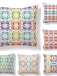 cheap -6 pcs Textile Cotton/Linen Pillow Cover, Floral Geometric Color Block
