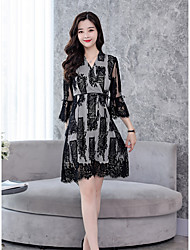 cheap -Women's Daily Casual Swing Dress,Floral Round Neck Above Knee Long Sleeve Silk Fall Medium Waist Micro-elastic Thin