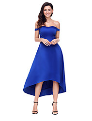 cheap -Women's Sheath Dress - Solid Color, Lace High Waist Asymmetrical Off Shoulder