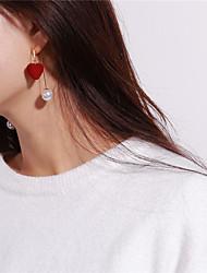 abordables -Mujer Pendientes colgantes Perla artificial Encantador Dulce Perla Artificial Cobre Coral Velve Forma de Círculo Corazón Joyas Fiesta