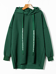 cheap -Women's Cotton Hoodie - Solid Colored