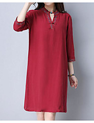 cheap -Women's Casual/Daily Chinoiserie Loose Dress,Solid Mandarin Collar Knee-length 3/4 Sleeve Linen Spring Mid Rise Inelastic Opaque
