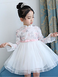 cheap -Girl's Daily Going out Floral Flower/Floral Embroidered Dress,Cotton Spring Fall Long Sleeves Cute Active Chinoiserie Blushing Pink White
