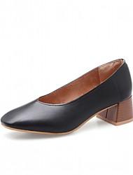 baratos -Mulheres Sapatos Courino Primavera / Outono Conforto / Inovador Saltos Salto Robusto Ponta quadrada Preto / Amarelo / Amêndoa / Social