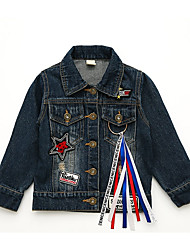 cheap -Girls' Daily School Solid Jeans Quotes & Sayings Suit & Blazer, Cotton Polyester Long Sleeves Vintage Casual Blue