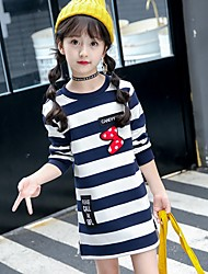 cheap -Girl's Daily Striped Dress,Cotton Winter Long Sleeves Cute Navy Blue