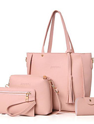 cheap -Women's Bags PU Bag Set 4 Pieces Purse Set Tassel for Casual Outdoor Winter Black Blushing Pink Camel Gray