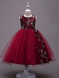 abordables -Robe Fille de Anniversaire Sortie Couleur Pleine Luxe Coton Polyester Eté Sans Manches Mignon Princesse Bleu Blanc Noir Rouge Rose Claire
