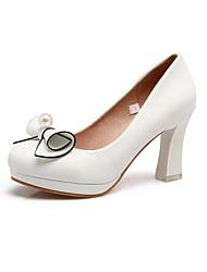 preiswerte -Damen Schuhe maßgeschneiderte Werkstoffe Frühling Herbst Pumps High Heels Blockabsatz Runde Zehe Geschlossene Spitze Schleife für Kleid