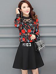 cheap -Women's Work Boho A Line Sheath Dress - Floral Patchwork Stand