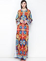 abordables -Mujer Tallas Grandes Básico / Boho Algodón Corte Ancho Vestido Floral Maxi