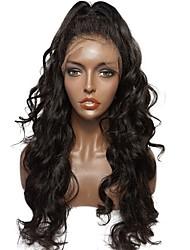 Недорогие -Натуральные волосы Бесклеевая кружевная лента / Лента спереди Парик Перуанские волосы Волнистый / Естественные волны Парик С пушком 130% Природные волосы / 100% девственница / Необработанные Жен.