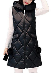 cheap -Women's Plus Size Simple Casual Winter Fall Vest,Solid Hooded Sleeveless Long Cotton
