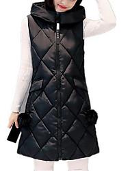 economico -Gilè Da donna Taglie forti Semplice Autunno Inverno,Tinta unita Con cappuccio Cotone Lungo Senza maniche