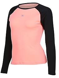 cheap -Women's Crew Neck Patchwork Running Shirt - Rose Red, Pink, Grey Sports Tee / T-shirt Yoga, Fitness, Gym Long Sleeve Activewear Quick Dry Inelastic