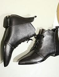 Недорогие -Жен. Обувь Полиуретан Зима Осень Удобная обувь Ботинки На низком каблуке Закрытый мыс Ботинки для Повседневные Серебряный Винный