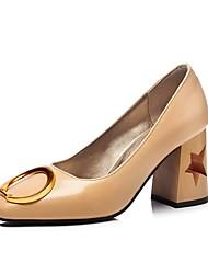 Недорогие -Обувь Полиуретановая кожа Весна Лето Удобная обувь Туфли лодочки Обувь на каблуках На толстом каблуке Круглый носок Пряжки для