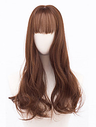 cheap -Synthetic Wig Curly With Bangs Density Capless Brown Black Party Wig Natural Wigs Medium Long Synthetic Hair