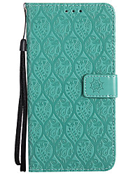 cheap -Case For Huawei Honor 9 Card Holder Wallet with Stand Embossed Full Body Cases Solid Color Flower Hard PU Leather for Honor 9 Honor 6X