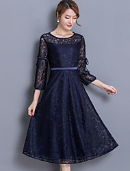 cheap -Women's Going out Street chic Lace Swing Dress,Solid Jacquard Round Neck Midi 3/4 Sleeve Polyester Spring Mid Rise Micro-elastic Thin