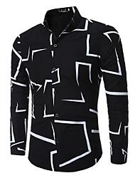 billige -Herre - Geometrisk Gade Skjorte / Langærmet