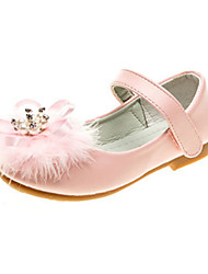 cheap -Girls' Shoes PU Spring & Summer Comfort / Novelty / Flower Girl Shoes Flats Rhinestone / Feather / Appliques for White / Pink / Wedding