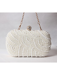 cheap -Women's Bags Satin Evening Bag Beading / Pearls Beige