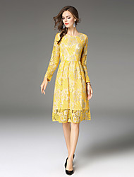 cheap -Women's A Line Sheath Lace Dress - Solid, Lace