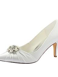 preiswerte -Damen Schuhe Stretch - Satin Frühling Herbst Pumps Hochzeit Schuhe Stöckelabsatz Spitze Zehe Kristall Perle für Hochzeit Party &
