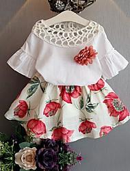 Недорогие -Девочки Набор одежды Повседневные Хлопок Цветочный принт Лето Рукав до локтя Очаровательный Розовый