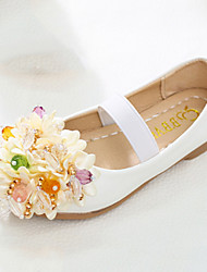 cheap -Girls' Shoes PU Spring Fall Flower Girl Shoes Novelty Comfort Flats Beading Appliques Magic Tape for Wedding Party & Evening White Pink