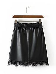 abordables -Mujer Casual Diario Sobre la Rodilla Faldas,Línea A Piel Sintética Otoño Un Color