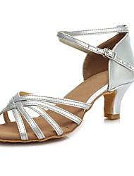 baratos -Sapatos de Dança Latina Courino Salto Vime Salto Cubano Personalizável Sapatos de Dança Dourado / Prata