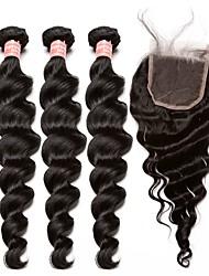 Недорогие -3 комплекта с закрытием Малазийские волосы Свободные волны 10A Не подвергавшиеся окрашиванию Волосы Уток с закрытием Ткет человеческих волос Расширения человеческих волос